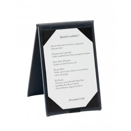 Cafe Table Tent, black color, with paper menu insert