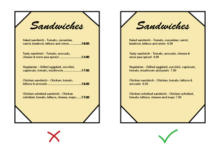 Menu engineering graphic - do not list prices on menu