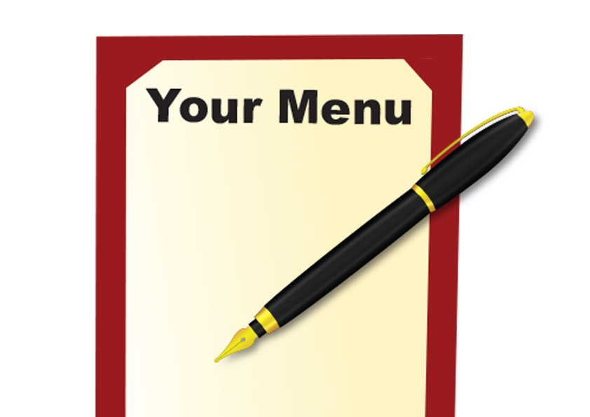 Image of a menu cover and writing pen